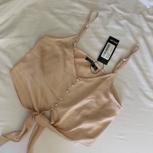 Nasty Gal Tie Me Satin Crop Top Pink